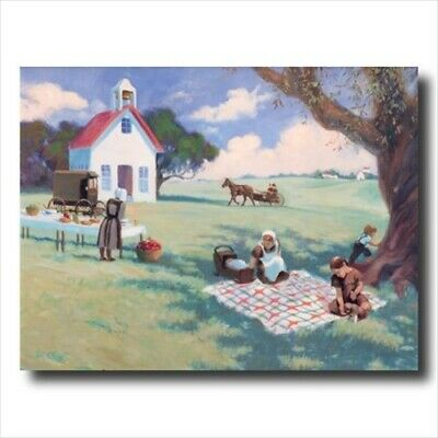 Amish School Horse Buggy Girls Wall Picture Art Print
