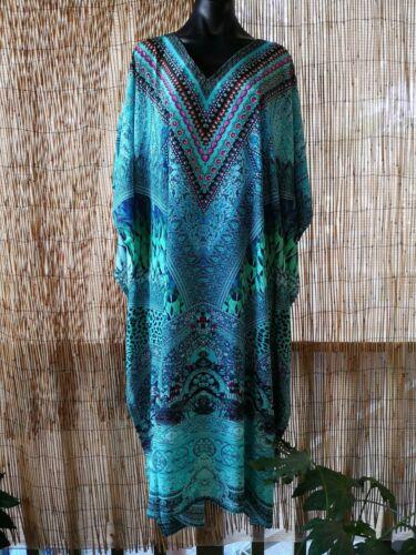 Plus Size Satin-Like Embellished Long Kaftan Dress One Size 16 to 26 Free Post