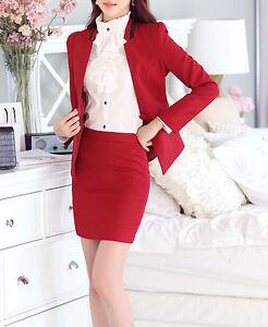 c6949c8cd9b8 Caricamento dell immagine in corso Elegante-Tailleur-completo-donna-rosso -nero-giacca-manica-