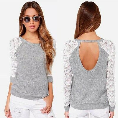 Women Backless Long Sleeve Embroidery Lace Crochet Shirt Top Blouse Plus Size