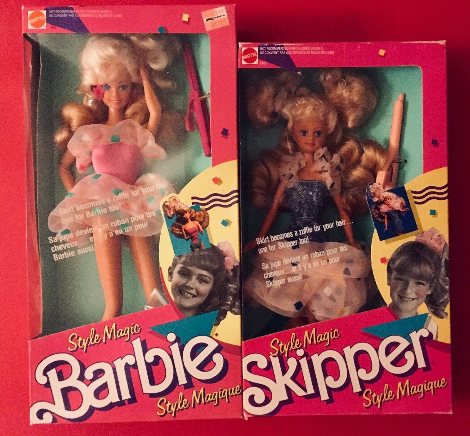 Barbie & skipper French Canadian Market STYLE MAGIQUE NRFB 1989