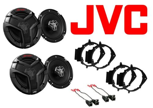 "NEW S//4 JVC 6.5/"" CAR TRUCK FRONT /& REAR DOOR SPEAKERS W// MOUNTS /& WIRE HARNESS"