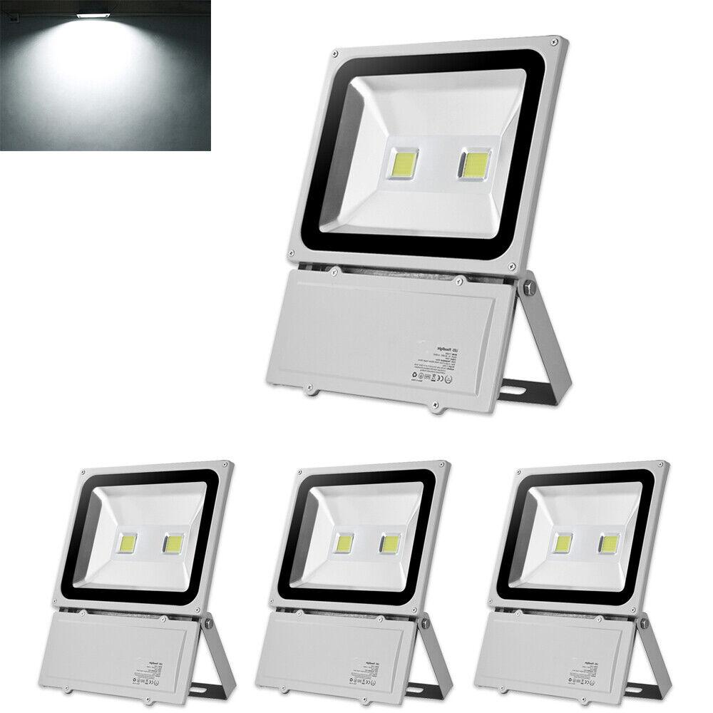 4X 100W LED Fluter Außen Strahler Scheinwerfer Flutlicht IP65 Garten Lampe Weiß