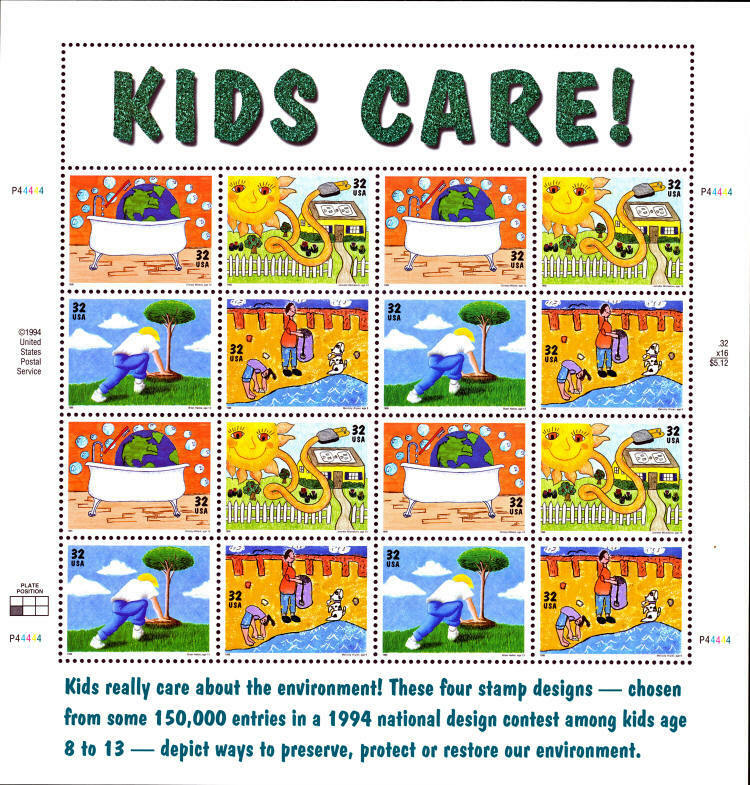 1995 32c Earth Day/Kids Care, Sheet of 16 Scott 2951-54