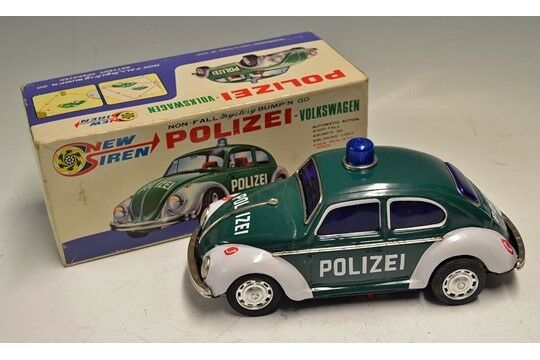 RARE Vintage VW New Siren Bump'N'Go Police Car With Original Box
