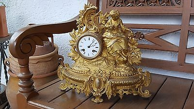 Alte Kaminuhr Pendule Tischuhr Uhr Figurenuhr Messing Bronze Vincenti