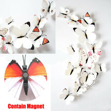 US White Magnet PVC 3D Butterfly Decal Wall Stickers Home Room Wall Decor Art R5