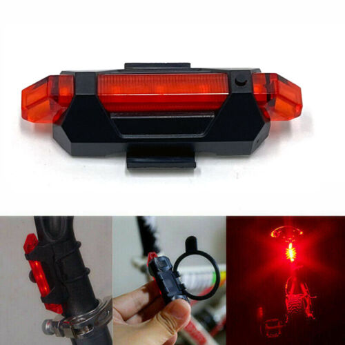 5LED USB Rechargeable Bike Tail Light Bicycle Safety Cycling Warning Rear Lamp