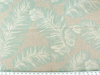 Drapery Upholstery Fabric 100% Cotton Duck Tropical Leaves - Turquoise