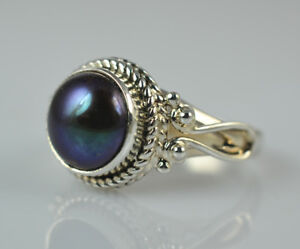 Freshwater-Black-Pearl-Ring-925-Sterling-Silver-Handmade-Jewelry-Women