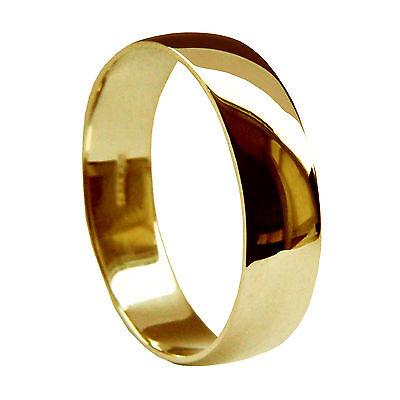 8mm 9ct Yellow Gold Wedding Rings D Shape Medium 6.8g UK Hallmarked Men's Q-Z2