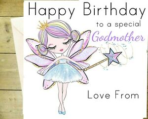 Personalised Godmother Birthday Card Fairy Pinks White Greeting