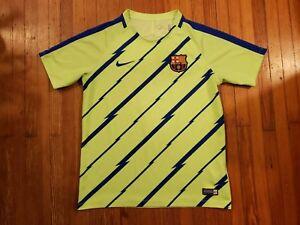 Fc Barcelona Nike Dri Fit Neon Green Jersey Boy S Size L Ebay