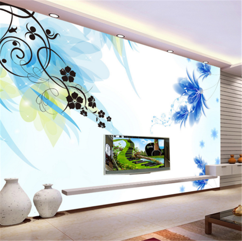 3D Blau Flowers Foliage 82 Wallpaper Mural Paper Wall Print Wallpaper Murals UK
