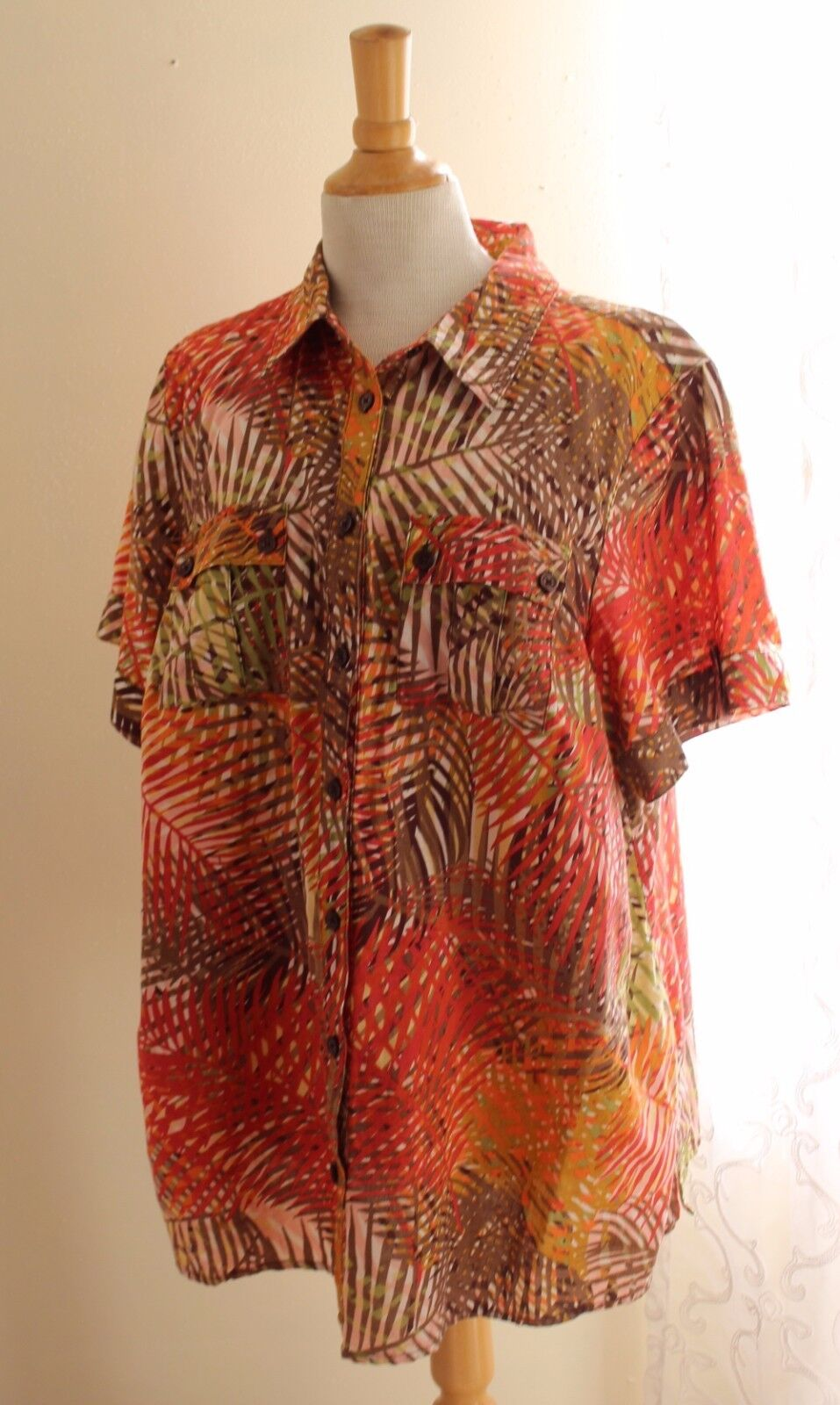 Liz Claiborne -Sz 2X Striking Leaf Tropical Linen-Cotton Long Tunic Camp Shirt