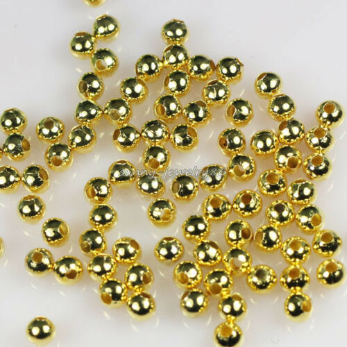 2mm,2.4mm,3.2mm,4mm,5mm,6mm Metal Round Spacer Beads Silver//Gold Plt Wholesale