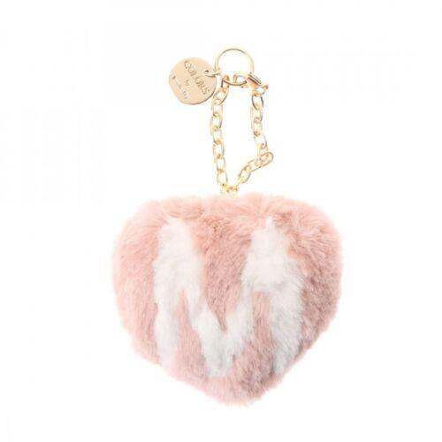 Samantha Thavasa COLORS by Jennifer Sky Fake Fur Initial Charm Pink Beige Gray