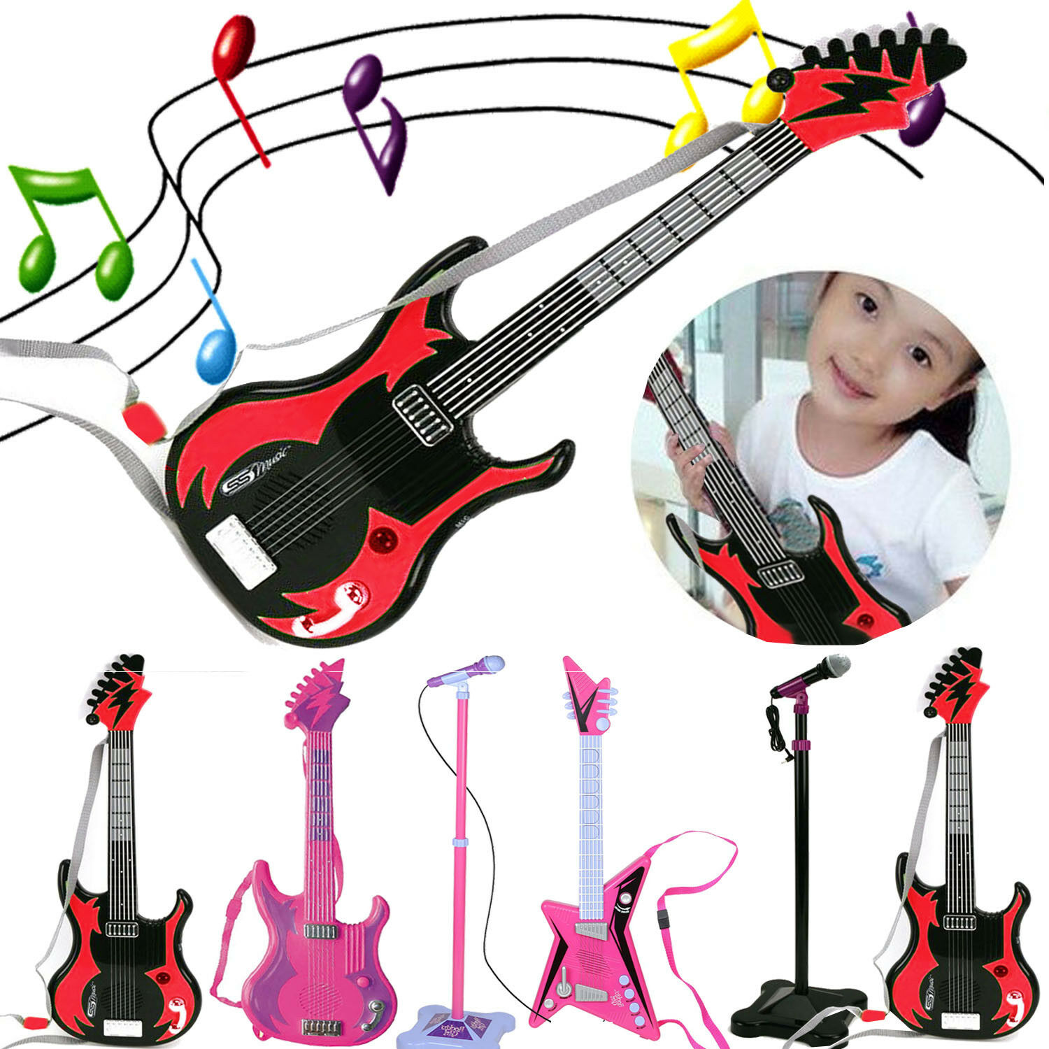 KIDS MUSICAL ART GUITARS STAGE MIC LEARNING INSTRUMENTS CREATIVE FUN PLAY TOY
