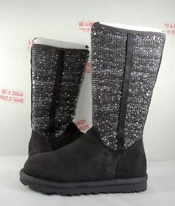 e72671bf276 Details about UGG Australia Camaya Knit Suede Charcoal Sequin Tall Boots 5-9