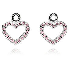 NEW Genuine PANDORA Sterling Silver Pink CZ Heart Earring Pendants 290657pcz£125