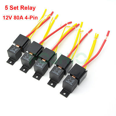 Car Relay, Socket 12V 80A AMP 4Pin DC SPST General Purpose Relays Normal on