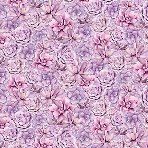 Wilmington-Humming-Along-Purple-Succulents-100-Cotton-Quilting-Fabric-SBY