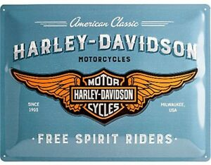 Harley-Davidson-Free-Spirit-Riders-con-Relieve-Acero-Signo-400mm-X-300mm-Na