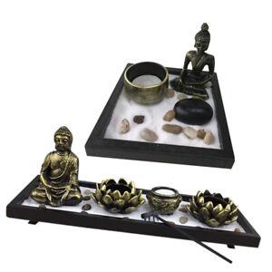 2pcs-ZEN-Garden-Set-Tray-Sand-Pebbles-Rake-Candle-Hodler-Home-Room-Ornament