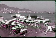 Slide Photo Hong Kong Yaumatie Ferry to Central District Street Scene Bus 1960s
