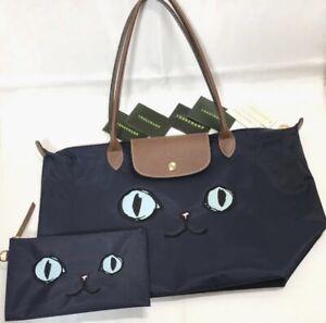Details about AUTHENTIC Longchamp Le Pliage Miaou Cat Tote Bag L & Porch  Navy/blue FS Japan