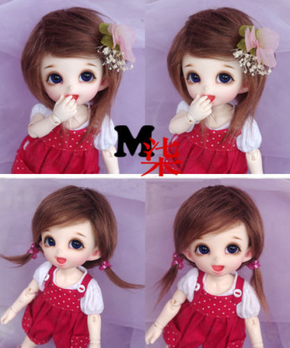 "3/""-4/"" 9-10cm BJD fabric fur wig  water pink for AE PukiFee lati 1//12 Doll"