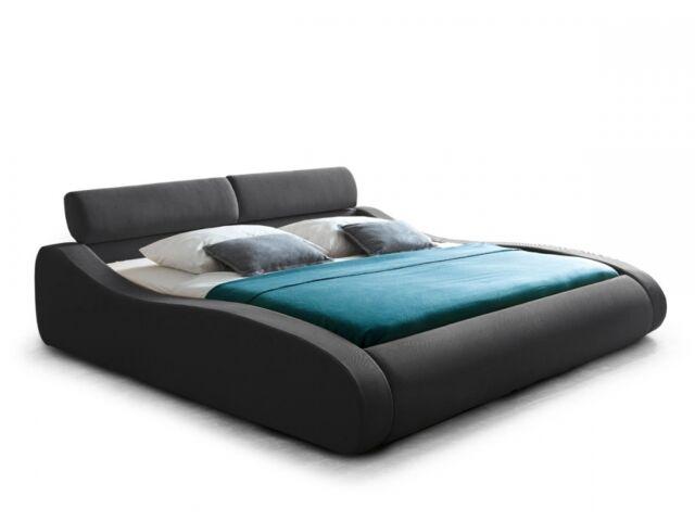 ARIBA Bett Doppelbett Polsterbett 180x200 Stoffbezug Grau Anthrazit geschwungen