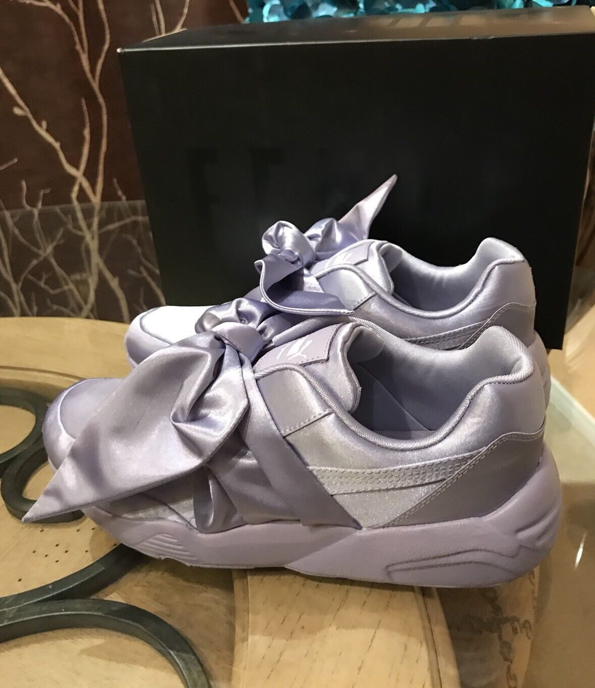 100% Auth Puma x Fenty By Rihanna Bow Sneakers Sweet Lavender 7.5 38.5 Womens