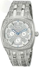 Bulova Mens Crystal Day-Date Watch 96C002 New Free Shipping