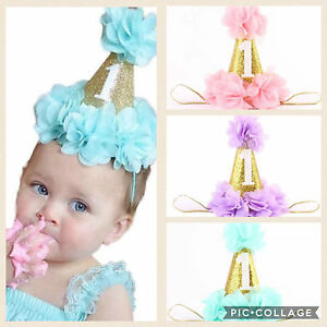 Baby Girls First 1st Birthday Party Hat Headband Cake Smash Prop ... d016d7d0abb