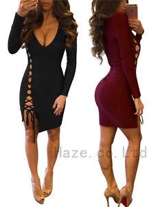 Women-Sexy-Lace-Up-Deep-V-Dress-Bodycon-Fashion-Evening-Party-Short-Mini-Dress
