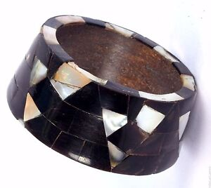 Beautiful Bangle Wood Shell Fitting Mosaic Mother of Pearl Inlay Bracelet. i8-26