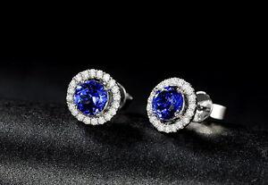 SOLID-14K-WHITE-GOLD-NATURAL-BLUE-TANZANITE-DIAMOND-WEDDING-EARRING