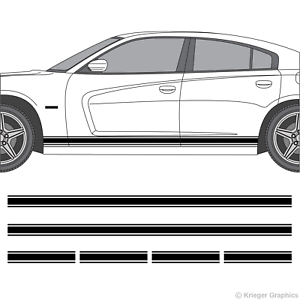 """Dodge Charger 10/"""" Solid Racing Stripes 3M Vinyl Decal Kit 10in 10 inch"""
