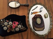 Godinger hand mirror vintage velvet old antique Jewelry Box Tray Perfume bottle