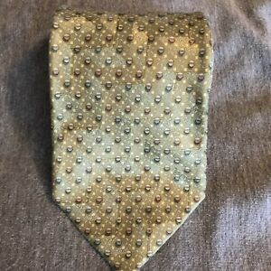 Ermenegildo-Zegna-Tie-Mens-Olive-100-Silk-Made-In-Italy-Striped-Necktie