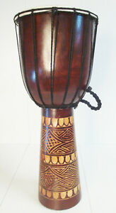 Hochw. robuste Handarbeit Trommel Holztrommel Djembe Bongo Drum Buschtommel 60cm