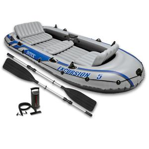 inflatable boat 5 person aluminium oars pump dinghy lake fishing fun beach sport 659360017854 ebay