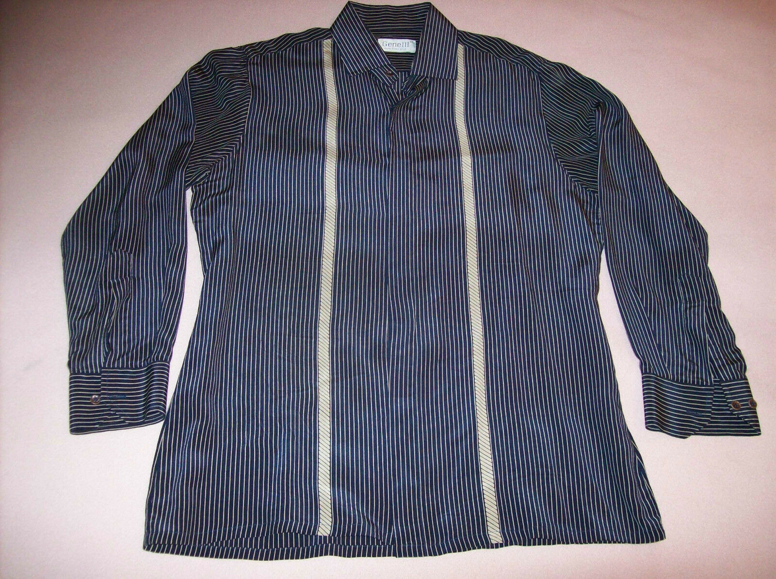 VINTAGE Herren GENELLI  FITTED 100% SILK SHIRT NAVY AND TAN STRIPED SIZE MEDIUM