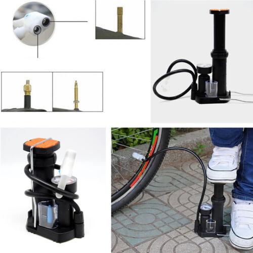 Motorcycle Wheel Tire Tyre Foot Pedal Floor Pump Inflator Pressure Gauge Tool BK