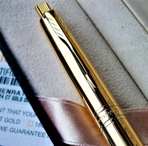 24ct Gold Plated Shiny Metal Parker Aster Ball Point Writing Pen Gift Boxed 24k