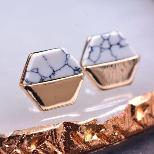 Tono Oro blanco piedras preciosas de color turquesa Hexágono grandes pendientes vintage inspirado Desi