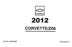 2012 chevrolet corvette z06 gs c6 owner s owners owner manual guide rh ebay com corvette c6 owners manual 2008 corvette c6 owners manual 2008