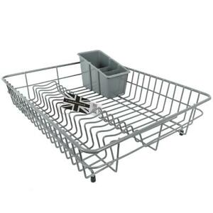 Delfinware-Large-Plastic-Coated-Grey-Dish-Drainer-amp-Cutlery-Basket-Sink-Rack