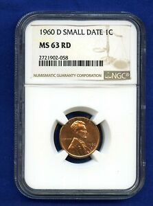1960 D Small Date 1c Lincoln Cent NGC MS 65 RD